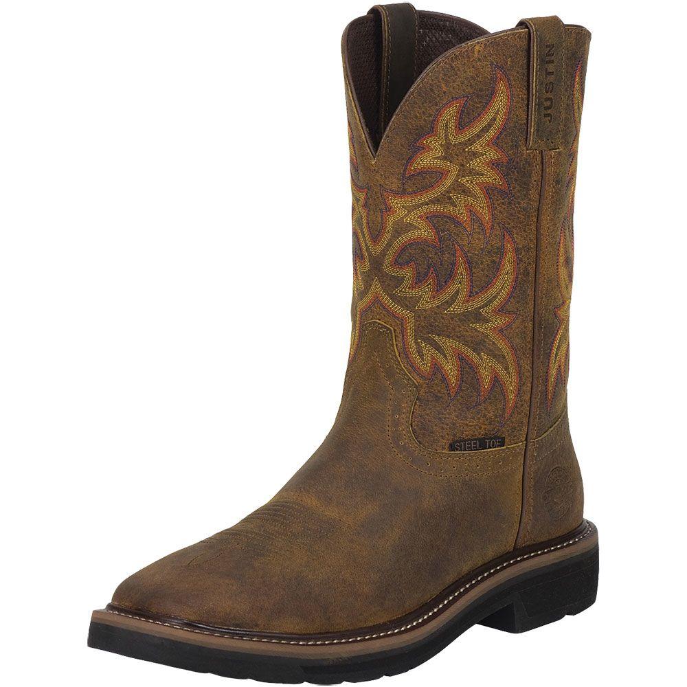 Justin Driller WK4682 Steel Toe Boots - Mens Tan Back View
