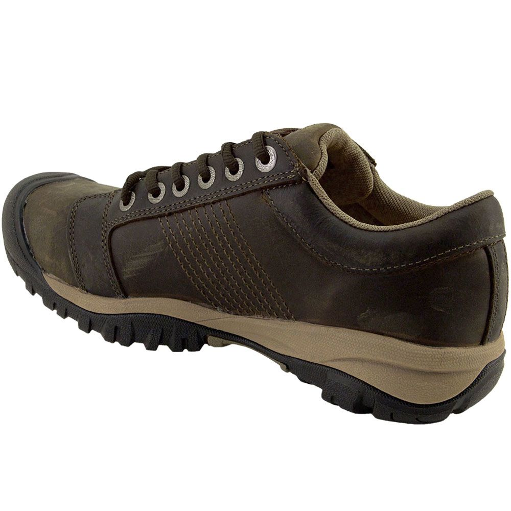 KEEN Utility La Conner Low Safety Toe Work Shoes - Mens Cascade Brown Back View