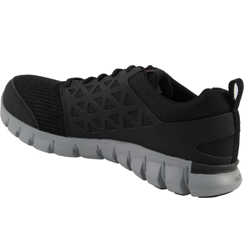 Reebok Work Sublite Eh Safety Toe Work Shoes - Mens Black Back View
