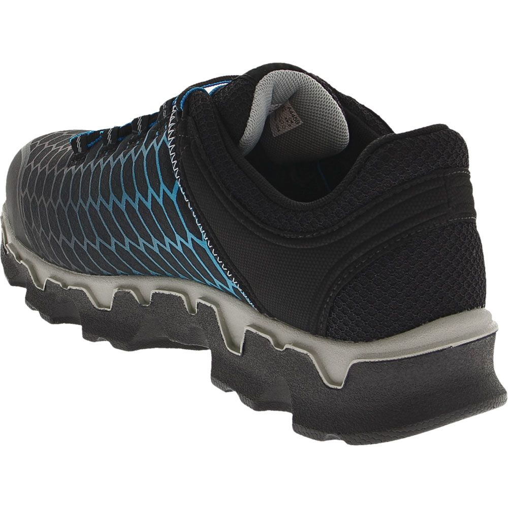 Timberland PRO Powertrain Safety Toe Work Shoes - Mens Black Blue Ripstock Back View
