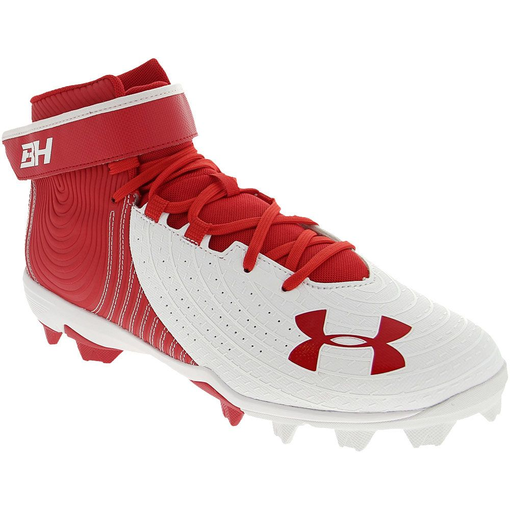 Under Armour Harper 4 Mid Rm Baseball Cleats - Mens Red White