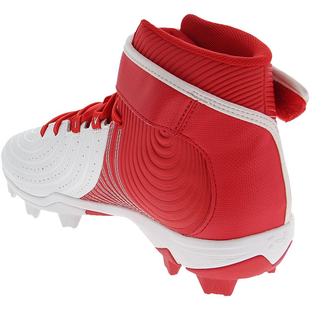 Under Armour Harper 4 Mid Rm Baseball Cleats - Mens Red White Back View