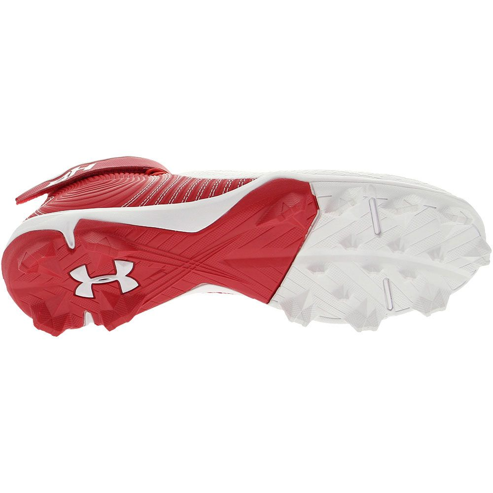 Under Armour Harper 4 Mid Rm Baseball Cleats - Mens Red White Sole View