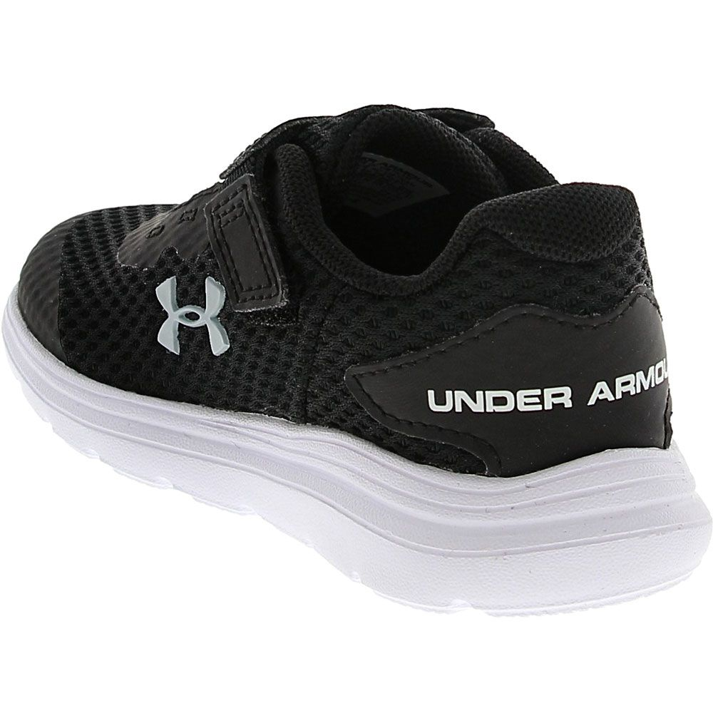 Under Armour Surge 2 Ac Rn Athletic Shoes - Baby Toddler Black White Grey Back View